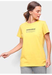Camiseta Colcci Sustentável Feminina - Feminino-Amarelo