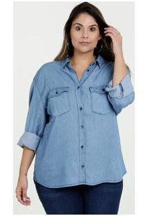 a4f2d80d2 ... Camisa Feminina Jeans Plus Size Manga Longa Razon