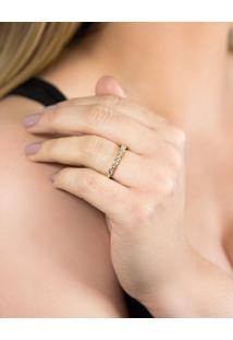 Meia Aliança De Ouro 18K Com Diamantes Rodinados-Coleção True