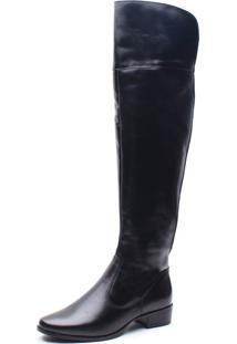 Bota Over On The Knee Em Couro Trivalle Shoes Preto - Kanui