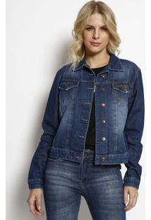 Jaqueta Jeans Com Bordado- Azul Escuro- Wranglerwrangler
