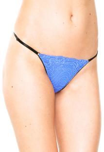 Calcinha Calvin Klein Underwear Tanga Renda Azul