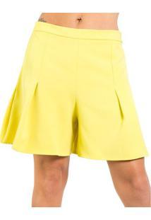 7c04eef45b1d8 Shorts Alfaiataria Evasê Lucidez 38 - Shorts Lucidez Alfaiataria Evasê  Amarelo 38