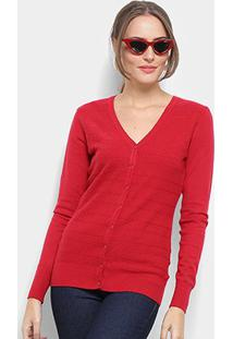 Cardigã Tricot Facinelli Maquinetado Feminino - Feminino-Vermelho