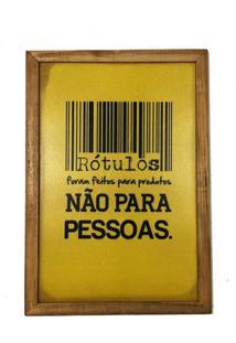 Quadro Madeira Mdf 20X30 C/ Moldura E Acab. Rotulos Pessoas - Marrom - Dafiti