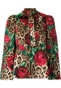 Dolce & Gabbana Blusa Com Rosas E Animal Print - Marrom