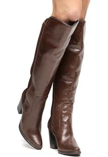Bota Couro Over The Knee Shoestock Salto Grosso Feminina - Feminino-Marrom