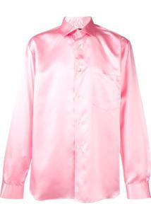 Comme Des Garçons Homme Plus Camisa De Cetim Com Botões - Rosa