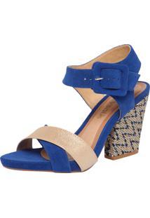 Sandália Crysalis Boho Azul/Bege/Dourado