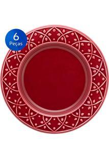 Conjunto De Pratos Para Sobremesa 6 Peças Mendi Corvina - Oxford - Vinho