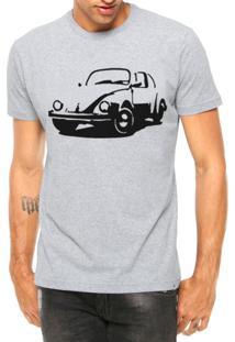 Camiseta Criativa Urbana Carro Antigo Clássico Fusca Manga Curta Cinza Mescla
