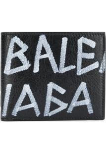 Balenciaga Carteira De Couro Com Grafite - Preto