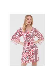 Vestido Maria Filó Curto Marrocos Branco/Vermelho