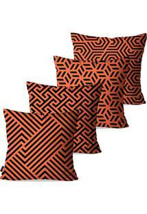 Kit Com 4 Capas Para Almofadas Decorativas Laranja Geomã©Trico 45X45Cm - Laranja - Dafiti