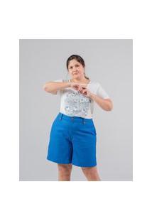 Bermuda Lisa Almaria Plus Size Miss Taylor Bolso-Faca Azul