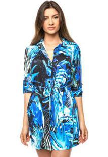 Saída De Praia Curta Estilo Camisão De Malha Fria Sonho - Feminino-Azul