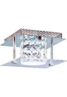Plafon Glacial Cristal Led 15X15Cm 1X10W 127V Acrílico Jateado Com Cristais Bronzearte