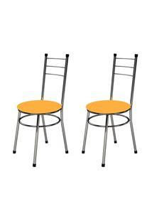 Kit 2 Cadeiras Baixas 0.236 Redonda Cromado/Laranja - Marcheli