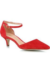 Scarpin Salto Baixo Em Camurça Vermelho