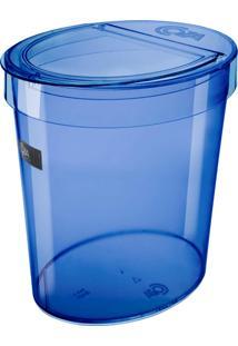 """Lixeira Oval 5L Com Borda Para Esconder Saco De Lixo """" Ideal Para Pia """" Cor Azul Transparente Retrô - Coza"""