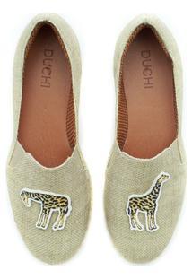 Alpargata Duchi Patch Girafa Safari Feminina - Feminino-Bege
