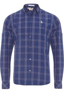 Camisa Masculina Xadrez Carbon - Azul