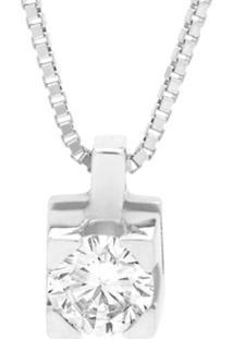 Pingente Solitário Ouro Branco E 30 Pontos De Diamantes