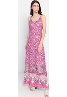 Vestido Longo Em Arabescos- Rosa & Cinza- Maria Padimaria Padilha