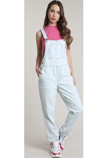 Macacão Jeans Feminino Boy Com Bolsos Azul Claro