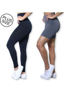 Kit Legging Preta E Bermuda Cinza Plus Size Heide Ribeiro Basic Suplex Academia