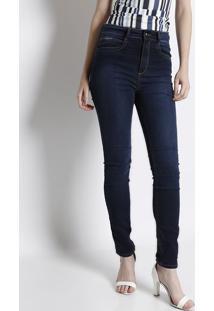Jeans Super High Second Skin Com Pespontos - Azul Escurolança Perfume