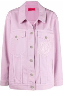 Ireneisgood Jaqueta Jeans Com Bordado De Coração - Rosa
