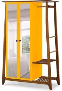 Guarda-Roupa Solteiro Stoka Com Espelho 2 Pt Nogal E Amarelo