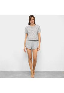 Pijama Hering Curto Feminino - Feminino-Mescla