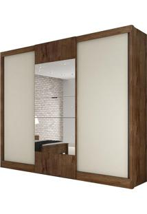 Guarda Roupa Make 3 Portas Com Espelho Canela/Off White