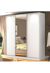 Guarda-Roupa Casal 3 Portas Correr 1 Espelho 100% Mdf Rc3003 Branco - Nova Mobile