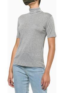 Blusa Feminina Básica Tricot Cinza Calvin Klein - G