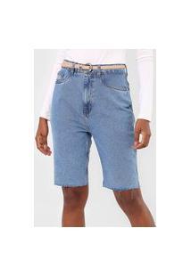 Bermuda Jeans Lança Perfume Mom Pespontos Azul