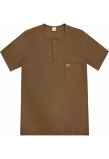 Camiseta Pau A Pique Botões - Masculino-Marrom