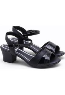 Sandália Comfortflex Verniz - Feminino-Preto