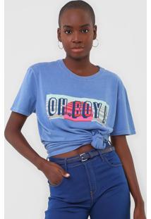 Camiseta Oh, Boy! Logo Azul - Kanui
