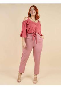 Calça Alfaiataria Almaria Plus Size Peri Rosa
