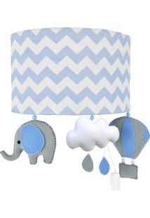 Arandela Meia Lua Elefante Balão Azul Quarto Bebê Infantil Menino - Kanui
