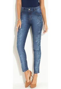 Calça Jeans Skinny Azul Com Estampa