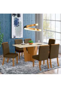 Conjunto De Mesa 1,60Cm Com 6 Cadeiras Espanha-Henn - Nature / Off White / Bege