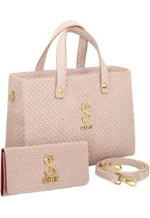 Kit Bolsa Selten Handbag Couro Textura Tresse + Carteira Feminina - Feminino-Nude