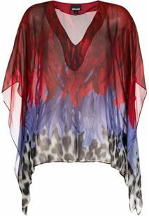 Just Cavalli Blusa De Chiffon Com Animal Print - Vermelho