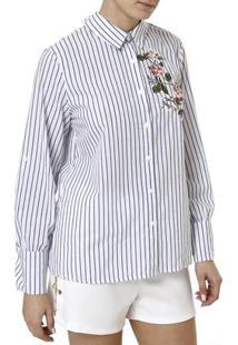Camisa Manga Longa Feminina - Feminino-Branco