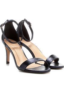 Sandália Couro Shoestock Salto Fino Naked Feminina - Feminino-Marinho