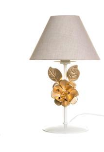 Abajur Metal Flor Dourada Potinho De Mel Dourado